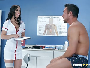 Latina bombshell nurse Alina Lopez rides her patient on make an issue of embark on
