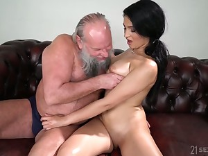 Old fart enjoys fucking notion of catching seductress with natural special Ava Black